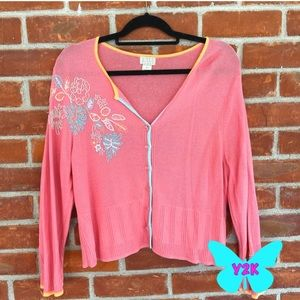 Vintage Y2K pink cardigan with floral embroidery